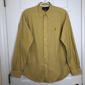 Ralph Lauren Dress Shirt Striped Yellow Sz Medium